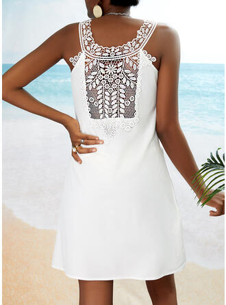 Lace/Solid Sleeveless Shift Above Knee Casual/Vacation Dresses