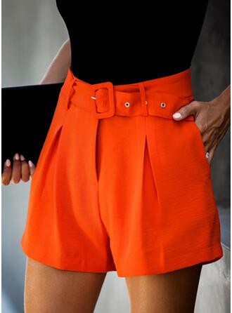 Solid Elegant Vintage Shorts
