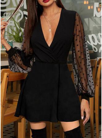 Solid/PolkaDot Long Sleeves A-line Above Knee Little Black/Elegant Dresses