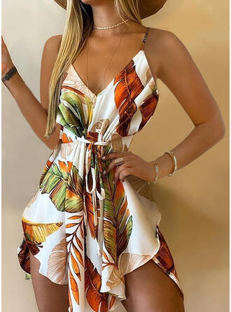 Floral Sleeveless A-line Above Knee Vacation Dresses