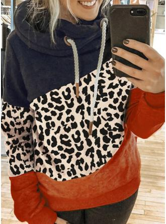 Trozos de color Leopardo Manga Larga Sudadera Con Capucha