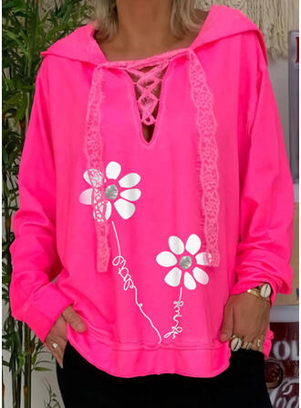 Print Floral Letter Lace Long Sleeves Hoodie