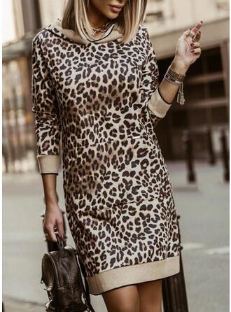 Leopard 3/4 Sleeves Sheath Above Knee Casual Sweatshirt Dresses