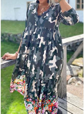 Fleurie/Camouflage Manches Longues Robe trapèze Décontractée Maxi Robes