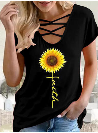 Impression de tournesol Letter Col U Manches Courtes T-shirts