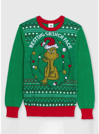 Unisex Estampado Colorido Carta Camisola de Natal Feio