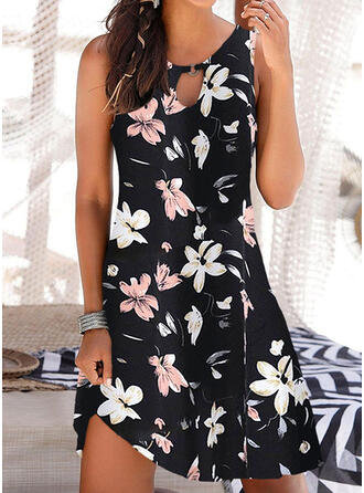 Print/Floral Sleeveless Shift Above Knee Casual/Vacation Tank Dresses