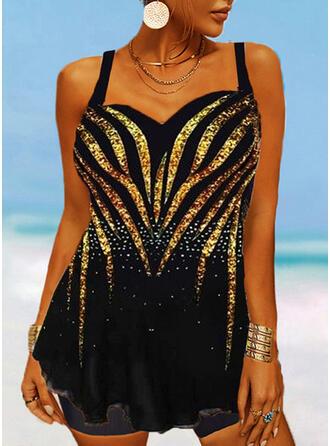 Print Splice color Strap V-Neck Plus Size Eye-catching Swimdresses Swimsuits