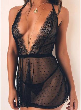 Renda Sexy Gola V Sedutor Robe Vestido de noite