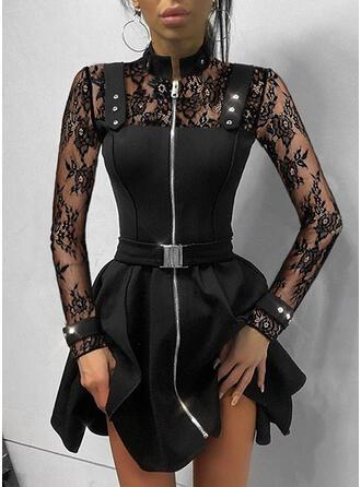 Lace/Sequins/Solid Long Sleeves A-line Above Knee Little Black/Elegant Skater Dresses