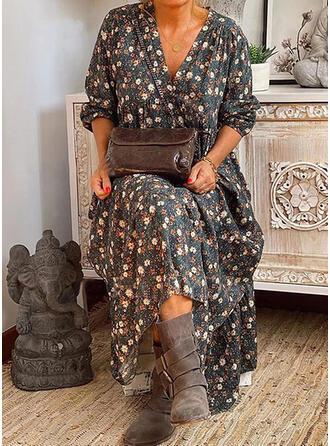 Print/Floral Long Sleeves Shift Casual Maxi Dresses