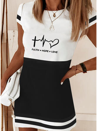 Print/Color Block/Heart/Letter Short Sleeves Shift Above Knee Elegant T-shirt Dresses