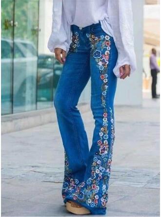 Print Shirred Plus Size Long Elegant Sexy Floral Jacquard Denim & Jeans