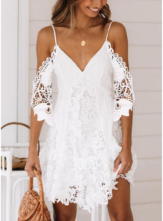 Lace/Solid 1/2 Sleeves Shift Above Knee Sexy/Vacation Dresses