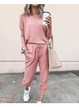 Round Neck Long Sleeves Solid Color Chic Top & Pants Sets