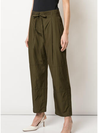 Solid Bowknot Elegant Vintage Lounge Pants