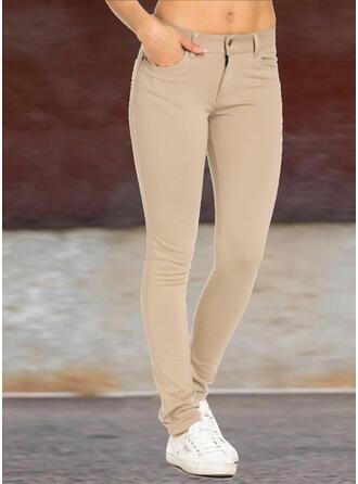 Solid Shirred Plus Size Long Elegant Sexy Plain Pants