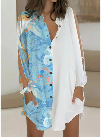 Print Long Sleeves Slit Sleeve Shift Above Knee Casual Shirt Dresses