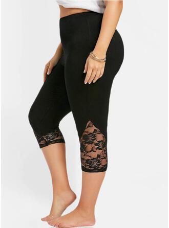 Solid Capris Sexy Plus Size Jacquard See-through Leggings