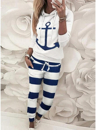 Print Color Block Casual Sweatshirts & Two-Piece Outfits Set