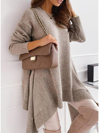 Solid Round Neck Casual Sweater Dress