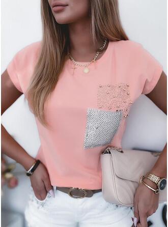 Impresión Cuello Redondo Manga Corta Camisetas