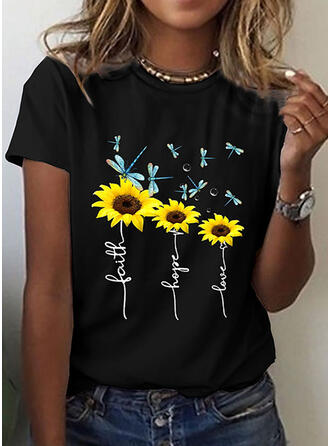 Animal Print Figure Sunflower Print Round Neck Short Sleeves T-shirts