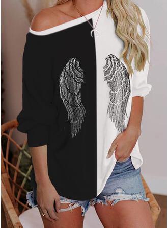 Print Color Block One Shoulder Long Sleeves Sweatshirt