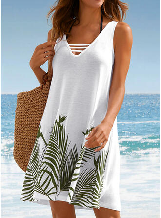Print/Backless Sleeveless Shift Above Knee Casual/Vacation Tank Dresses