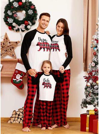 Bear Xadrez Carta Estampado Família Combinando Natal Pijama
