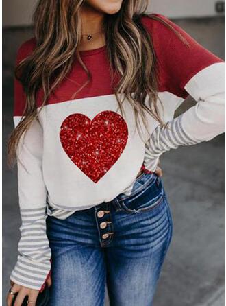 Saint Valentin Bloc de Couleur Cœur Col Rond Manches Longues T-shirts
