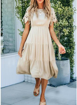 Color Block Short Sleeves A-line Elegant Midi Dresses