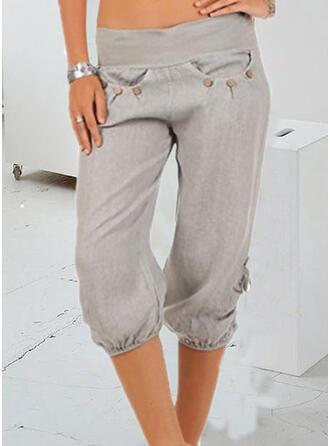 Pockets Plus Size Casual Plain Shorts