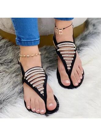 Femmes PU Talon plat Sandales À bout ouvert avec Strass Boucle chaussures