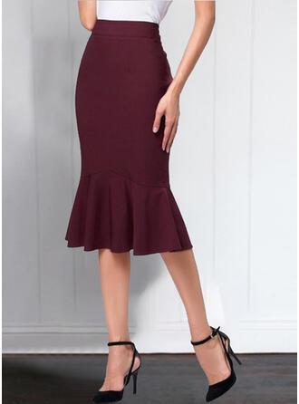 Polyester Plain Maxi Flared Skirts