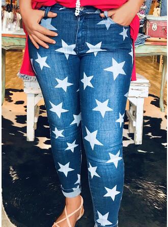 Imprimé star Treillis Longue Décontractée Jeans