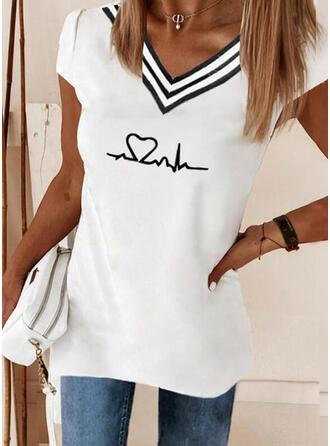 Corazón Impresión raya Cuello en V Manga Corta Camisetas
