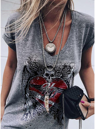 Figure Heart Print V-Neck Short Sleeves T-shirts