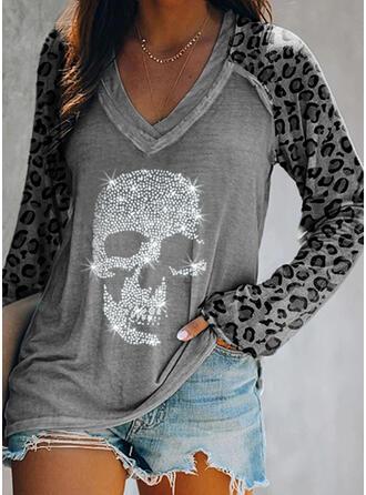 Lentejuelas Leopardo Cuello en V Manga Larga Casual Camisetas