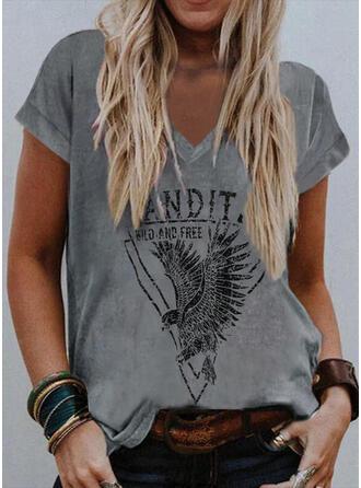 Imprimé Letter Faune Col V Manches Courtes T-shirts