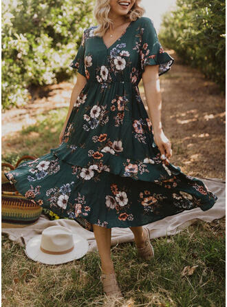 Floral Short Sleeves Flare Sleeve A-line Vacation Midi Dresses