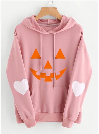 Halloween Print Heart Hooded Long Sleeves Hoodie