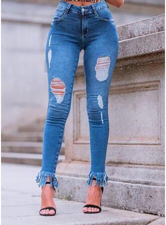 Plus Size Ripped Solid Denim Denim & Jeans