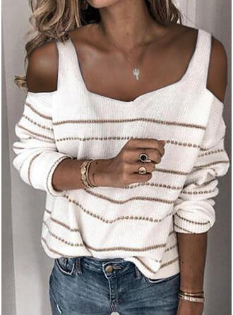 Striped Cold Shoulder Casual Sweaters