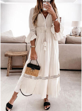 Lace/Solid/Tassel 3/4 Sleeves/Flare Sleeves A-line Skater Casual/Vacation Maxi Dresses