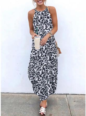 Leopard Sleeveless Shift Slip Casual Maxi Dresses