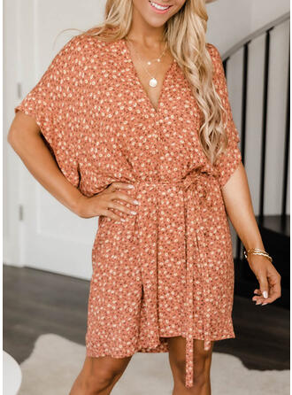 Floral Short Sleeves Bat Sleeve A-line Above Knee Casual Dresses