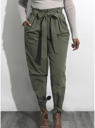 Pockets Shirred Bowknot Long Casual Elegant Sexy Pants