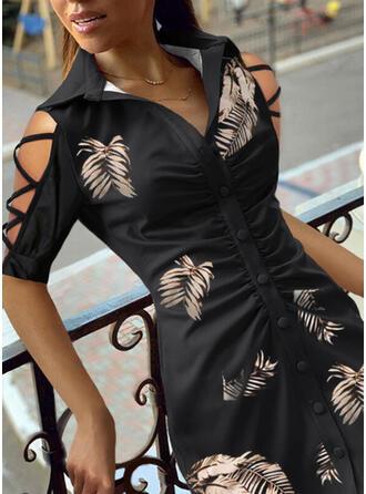 Print 1/2 Sleeves Cold Shoulder Sleeve Sheath Above Knee Casual Shirt Dresses