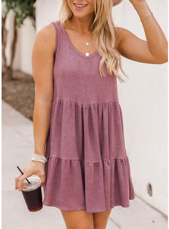Solid Sleeveless A-line Above Knee Casual Dresses
